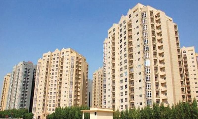 A high rise apartment block in Karachi. The FBR identifies more than 80,000 transactions worth Rs800 billionin the real estate sector during the last two years.—File photo