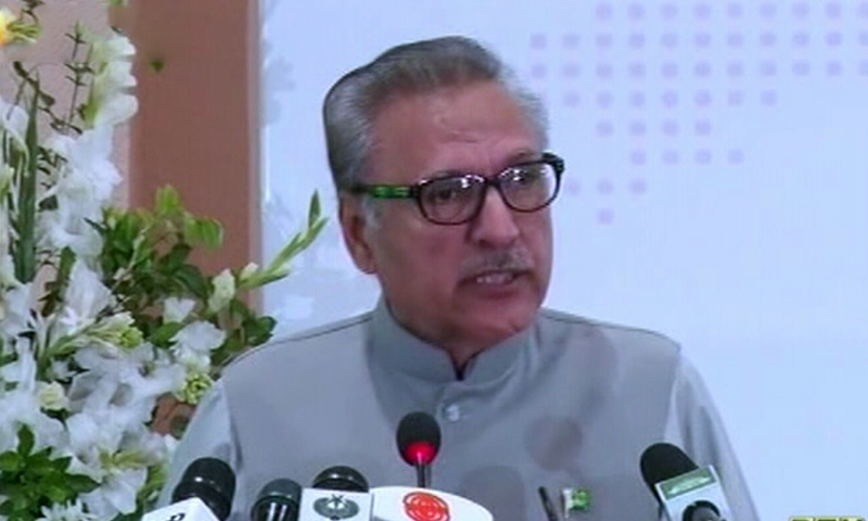 President Arif Alvi  speaking during a conference on  'The Global Non-Proliferation Regime: Challenges and Responses' at the Strategic Studies Institute in Islamabad. — DawnNews TV