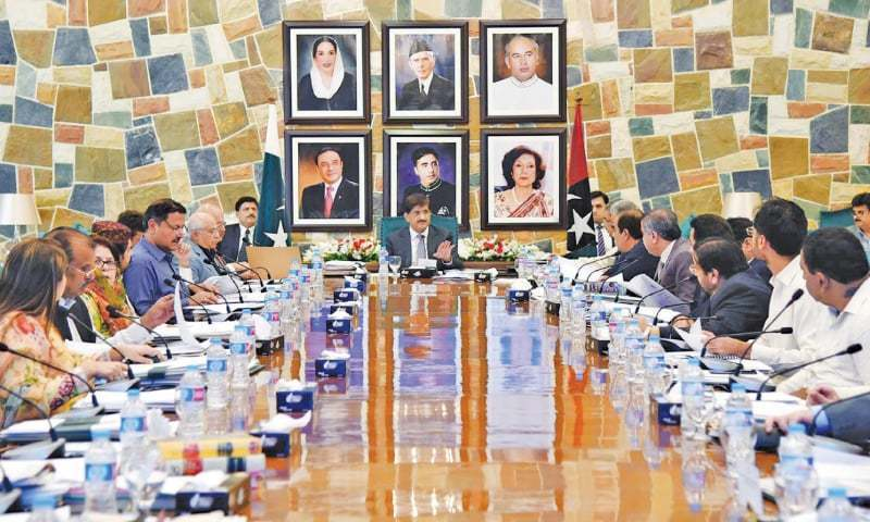 In this file photo, Sindh Chief Minister Syed Murad Ali Shah chairs a meeting of the provincial cabinet.