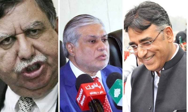 Former finance ministers Shaukat Tarin and Ishaq Dar with current Finance Minister Asad Umar.
