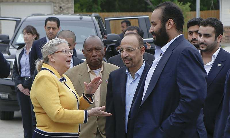 In this April 7, 2018, file photo, Saudi Crown Prince Mohammed bin Salman, right, is seen with his entourage as he tours a flood-damaged area in Houston, Texas. The man in the photo, rear second left, is allegedly the same individual in images that a pro-government Turkish newspaper published who was seen on surveillance video walking into the Saudi Consulate in Istanbul before writer Jamal Khashoggi vanished there. —AP