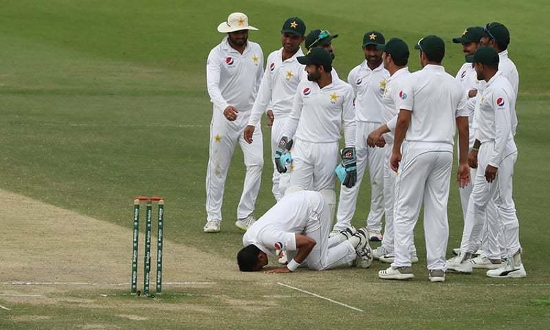 Abbas (2R) celebrates after dismissing Australian cricketer  Marnus Labuschagne. — AFP