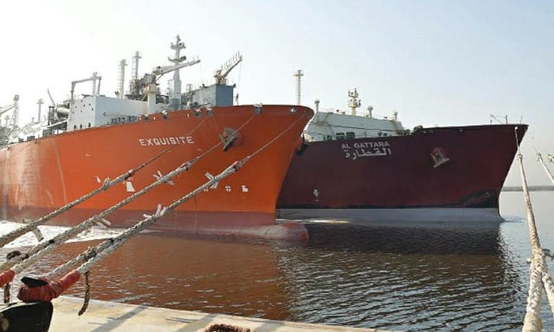 A ship transferring LNG into Exquisite — a floating storage re-gassification unit —at Port Qasim.