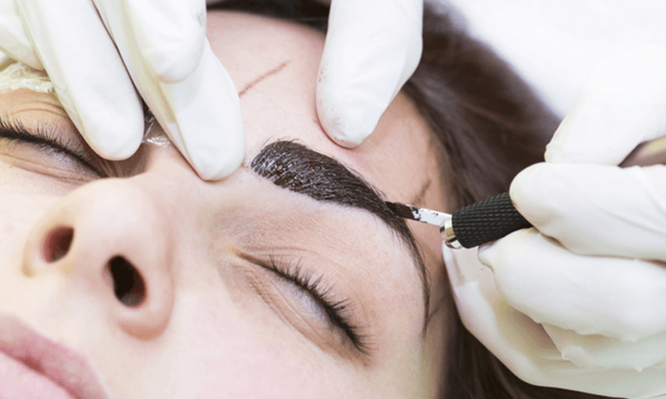 For eyebrows there's an additional option called microblading — where a hand-held tool is used to make small strokes.