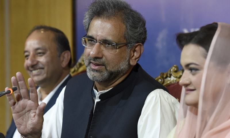 Former prime minister Shahid Khaqan Abbasi addresses a press conference on Tuesday.—Photo by Tanveer Shahzad / White Star