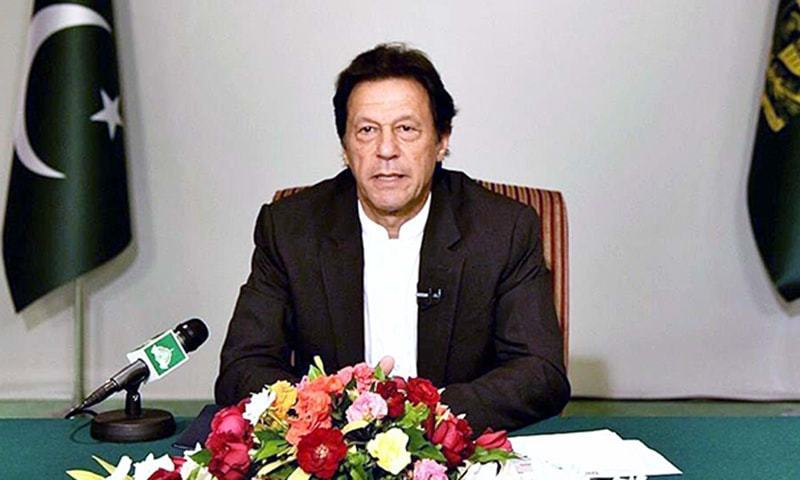 Prime Minister Imran Khan delivers a televised address to the nation. — APP