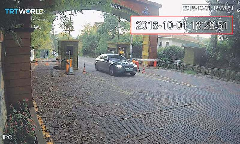 THIS image taken from CCTV video obtained by the Turkish broadcaster TRT World and made available on Wednesday shows a vehicle, allegedly belonging to the Saudi consulate, at the entrance to Belgrade Forest in Istanbul, Turkey, on  Oct 1. Turkish President Recep Tayyip Erdogan said on Tuesday that Saudi officials had made 'reconnaissance' trips to the forest as well as the city of Yalova a day before Jamal Khashoggi was killed.—AP