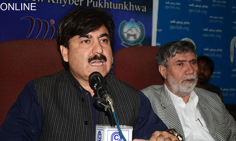 MPA Shaukat Ali Yousfzai takes oath of the office of provincial minister for information and public relations.— File