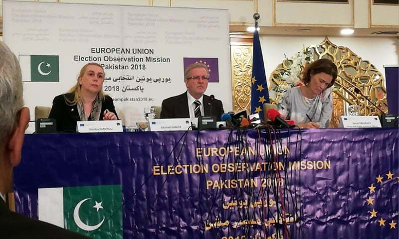 Chief of the European Union Election Observation Mission ( EU EOM), Michael Gahler along with EU Ambassador to Pakistan Jean-François Cautain (R). —Photo provided by author