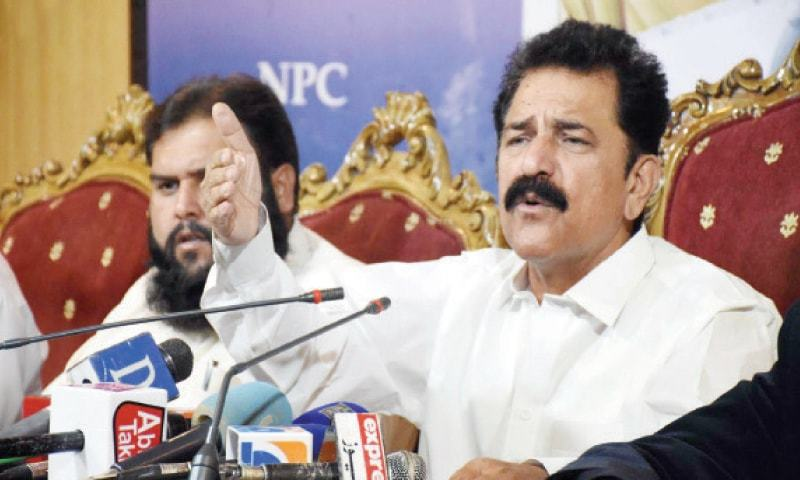 All Pakistan Oil Tanker Owners Association Chairman Aslam Khan Niazi speaks at a press conference on Sunday. — INP