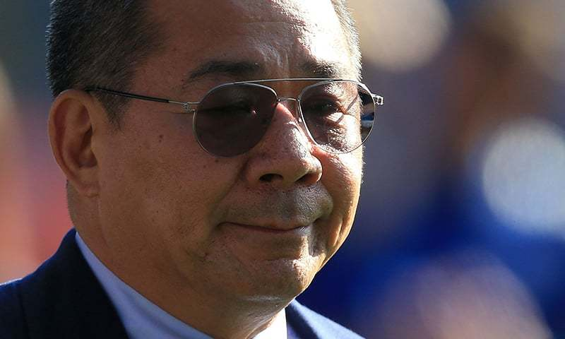 In this file photo taken on May 05, 2018, Leicester City's Thai chairman Vichai Srivaddhanaprabha applauds fans following the English Premier League football match between Leicester City and West Ham United at King Power Stadium in Leicester. — AFP