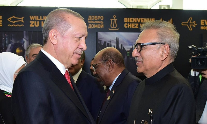 President Dr Arif Alvi and Turkish President Recep Tayyip Erdogan at inauguration of the Istanbul Grand International Airport on Monday. — Photo courtesy of Arif Alvi Twitter