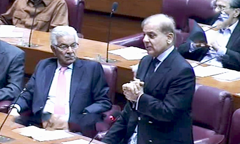 Leader of the Opposition Shahbaz Sharif at the NA session. — DawnNewsTV