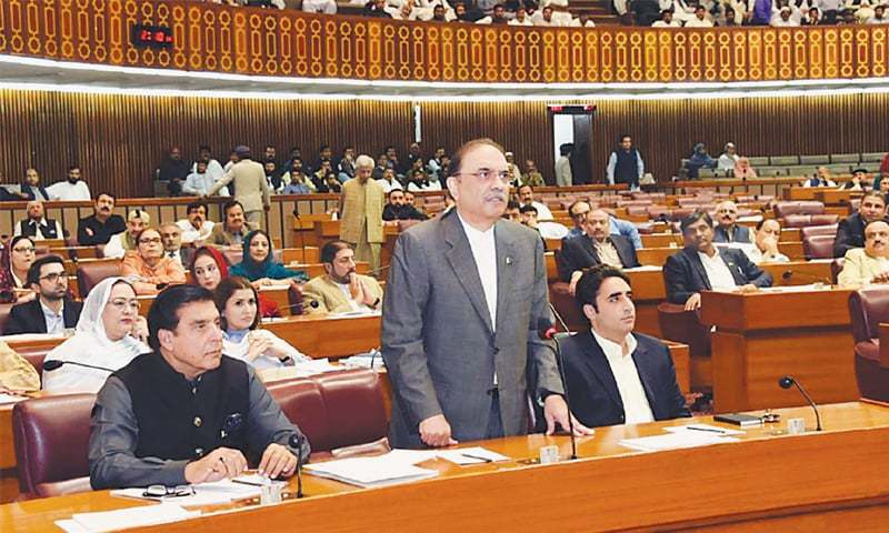 Pakistan Peoples Party leader Asif Ali Zardari addresses the National Assembly on Wednesday. — PPI