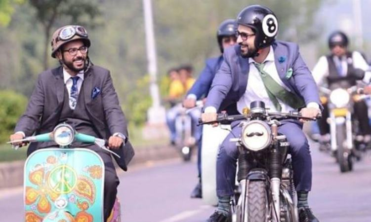 Haris Aziz (left)  is a classic car enthusiast and one of the organisers of the Distinguished Gentlemen's Ride in Islamabad
