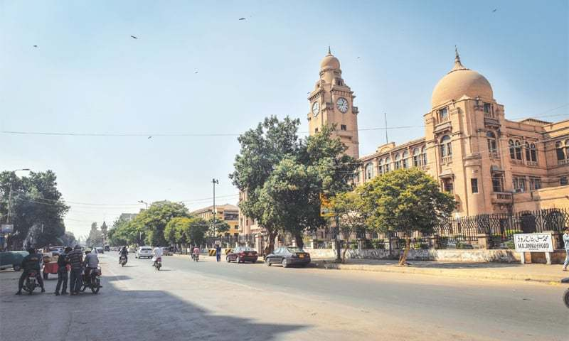 THE arterial M.A. Jinnah Road wears a deserted look on Thursday. —White Star / Online