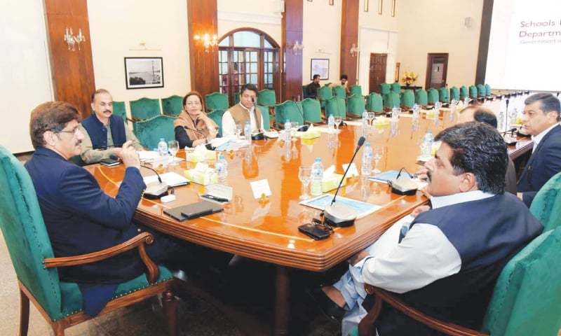 Chief Minister Syed Murad Ali Shah chairs a meeting at CM House on Friday to review the school education system in Sindh. — PPI