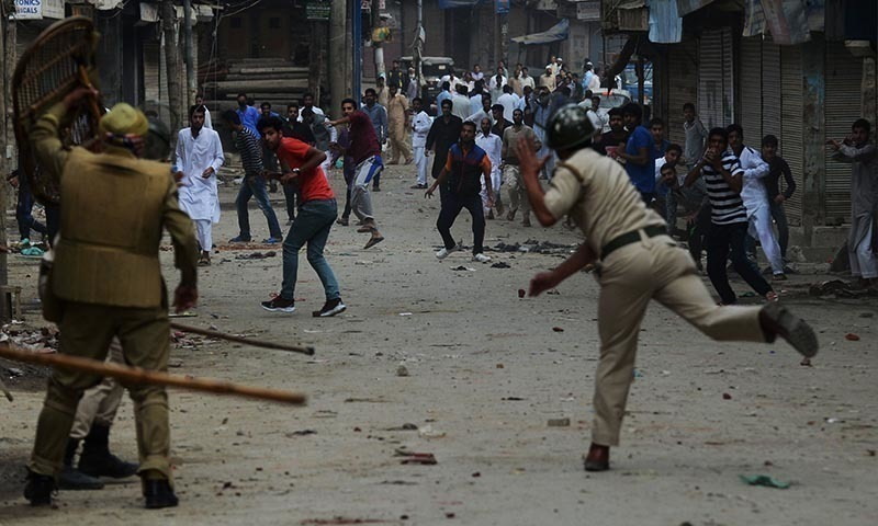 A file photo of a clash in occupied Kashmir.