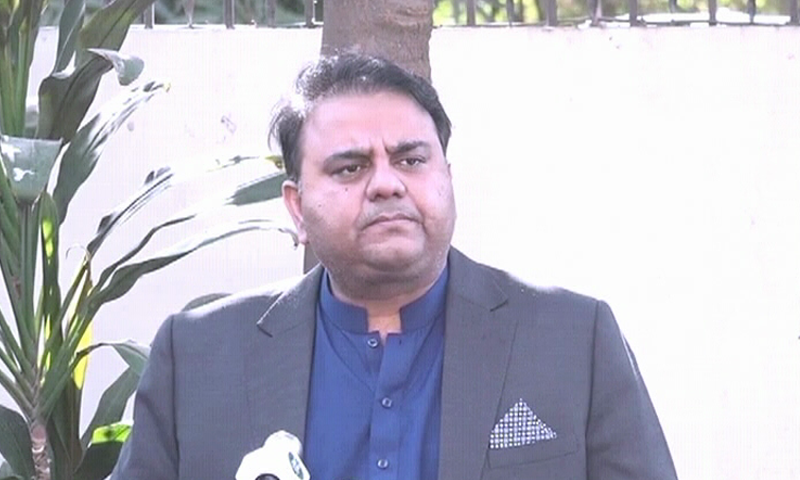 Information Minister Fawad Chaudhry addresses a press conference on Monday. ─ DawnNewsTV