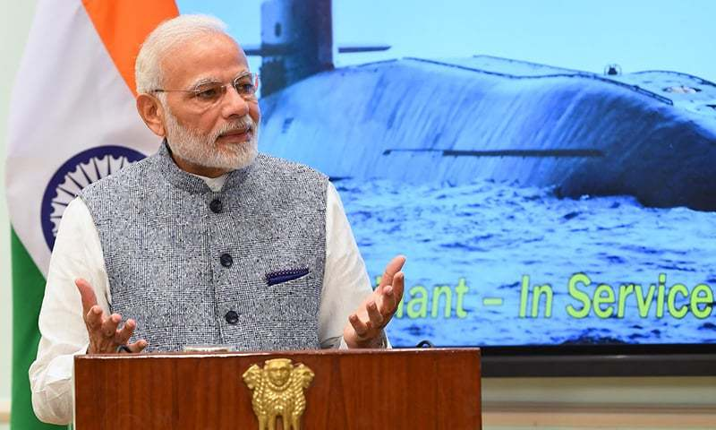 "PM Modi congratulates ""all those involved, especially the crew of INS Arihant, for this accomplishment"". — Photo via Twitter"