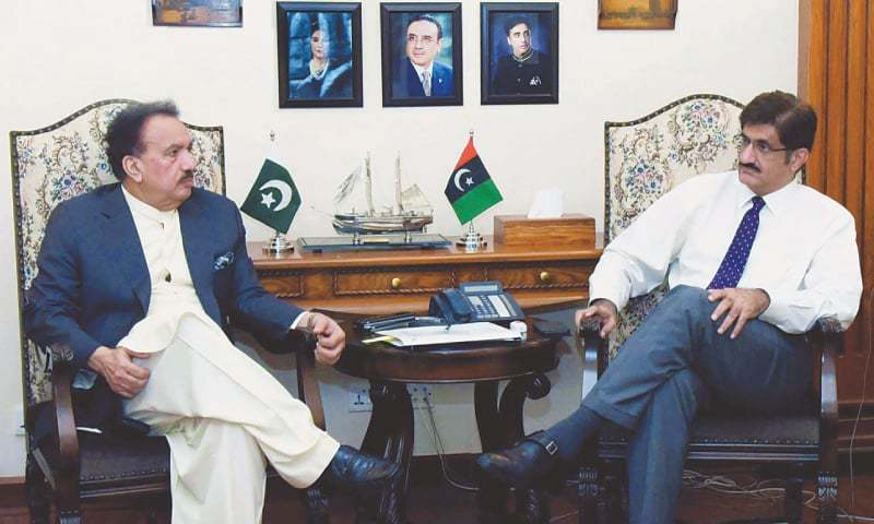 Chief Minister Syed Murad Ali Shah  exchanges views with Senator Rehman Malik at CM House on Monday. — PPI