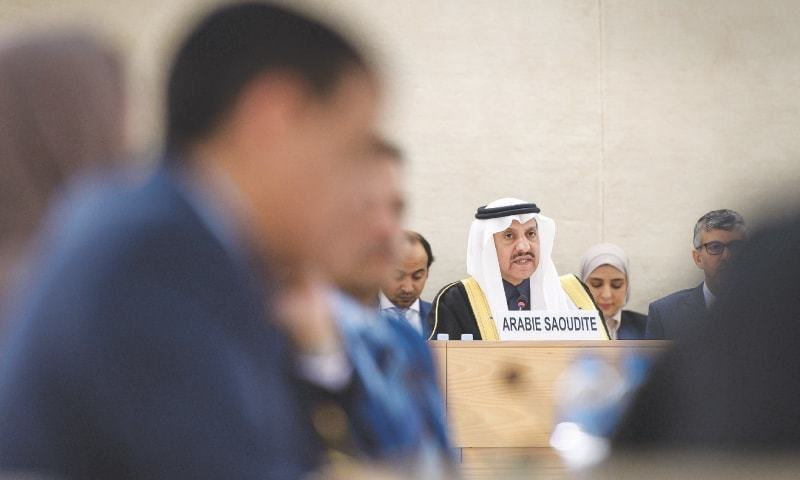 President of the Human Rights Commission of Saudi Arabia Bandar bin Mohammed Al Aiban (centre) delivers a speech before the UN Human Rights Council on Monday. — AFP