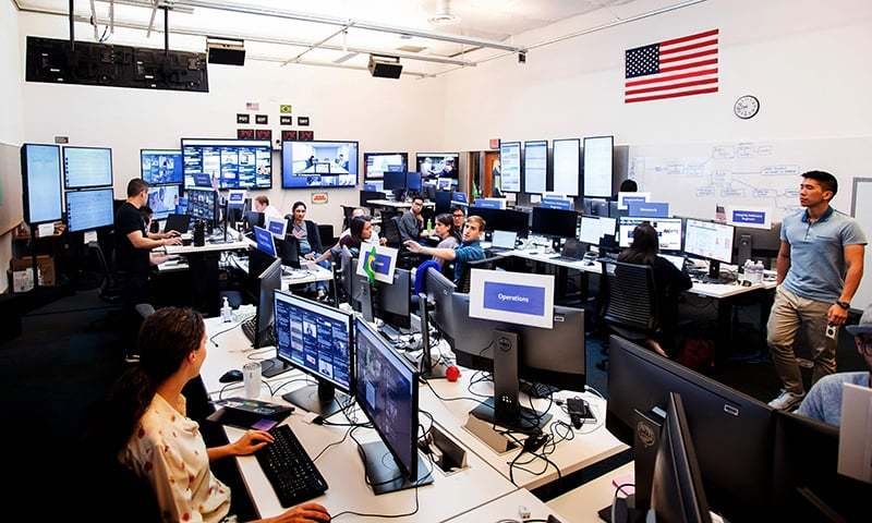 "In this file photo, employees work in Facebook's ""War Room,"" during a media demonstration, in Menlo Park, California. — AFP"