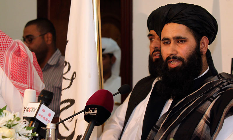 In this 2014 file photo, a representative of the Taliban speaks during a press conference at the official opening of their office in Doha, Qatar. —AP