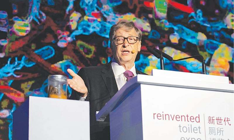 "Beijing: Microsoft founder Bill Gates speaks at the ""reinvented toilet expo"". —AFP"