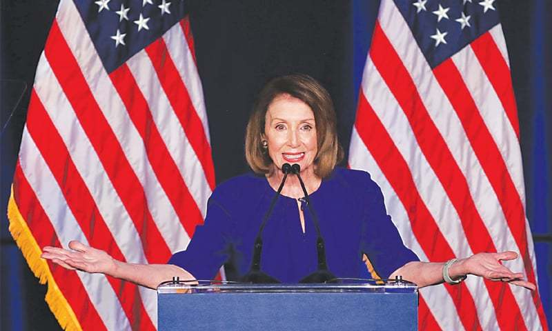 WASHINGTON: House Minority Leader Nancy Pelosi jubilant after the results started trickling in.—Reuters