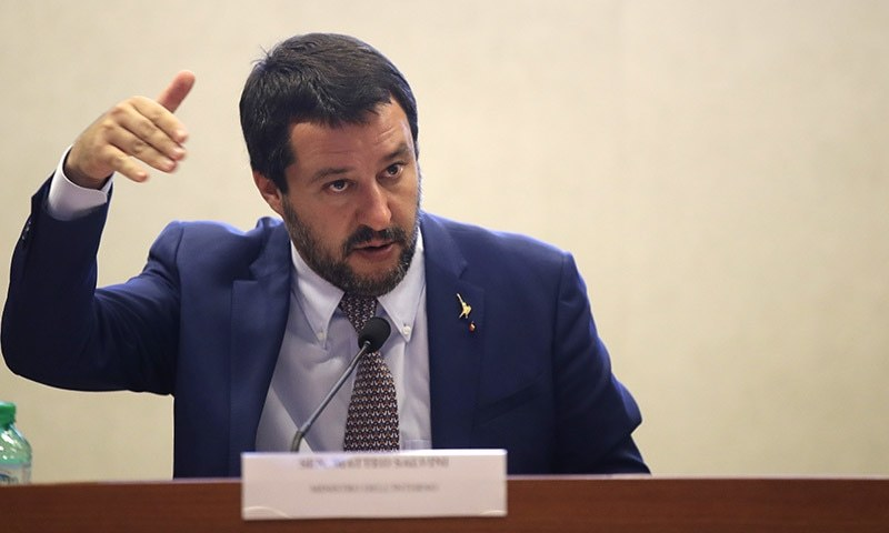 Interior Minister Matteo Salvini answers reporters' questions during a press conference at the Interior Ministry in Rome on Wednesday. — AP