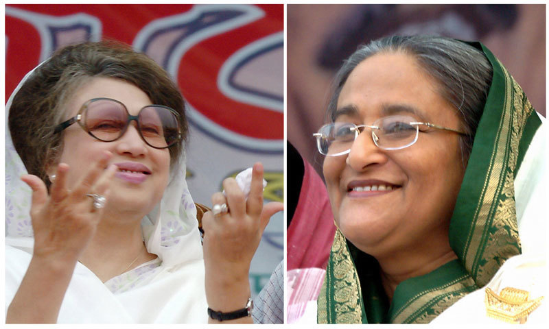 Bangladeshi opposition leader Khalida Zia (L) and Prime Minister Sheikh Hasina (R). — File photo