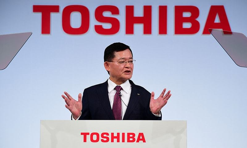 Toshiba chairman and CEO Nobuaki Kurumatani attends a press conference in Tokyo. — AFP