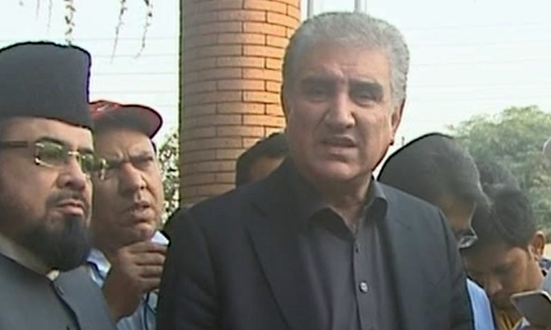 Foreign Minister Shah Mehmood Qureshi speaks to reporters in Multan on Thursday. — DawnNewsTV