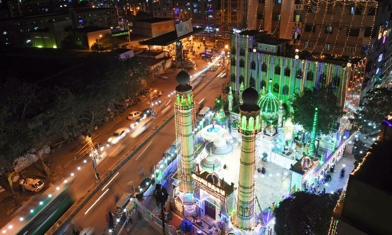 View of an illuminated mosque during celebrations marking Eid Miladun Nabi in karachi. —AFP/File