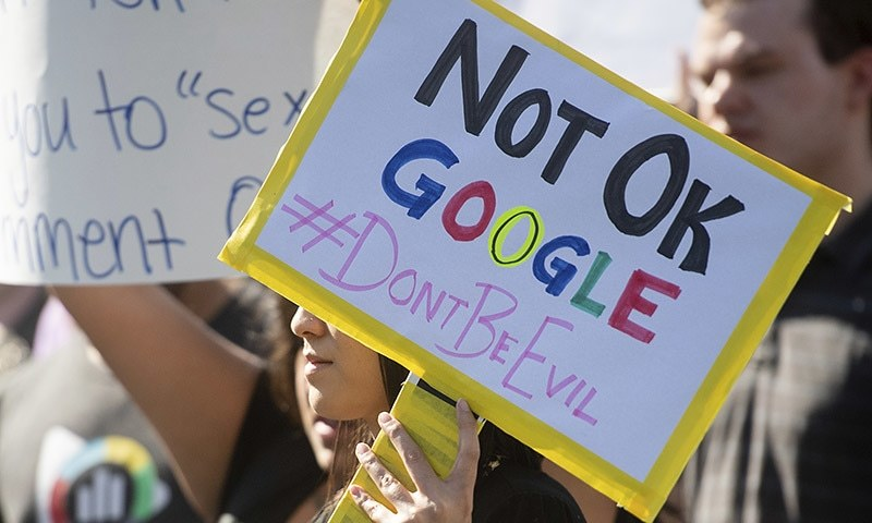 In this November 1 file photo workers protest against Google's handling of sexual misconduct allegations at the company's Mountain View, California headquarters. — AP