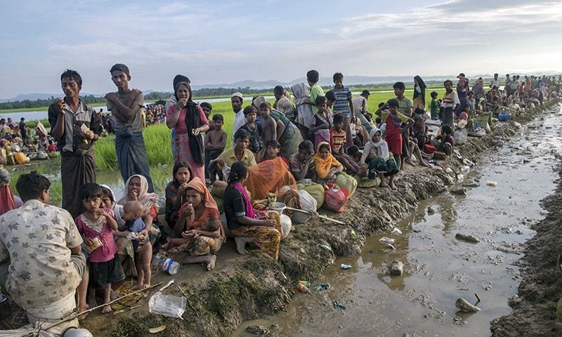 Rohingya Muslims who crossed over from Myanmar into Bangladesh rest on an embankment after spending a night in the open as they were prevented from moving ahead towards refugee camps by Bangladesh border guard soldier