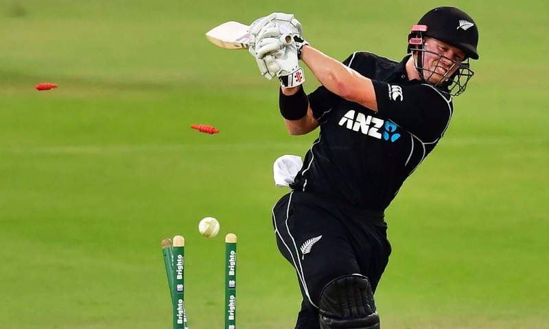 Henry Nicholls is bowled out by Hassan Ali during the second ODI at the Sheikh Zayed Cricket Stadium in Abu Dhabi. —AFP