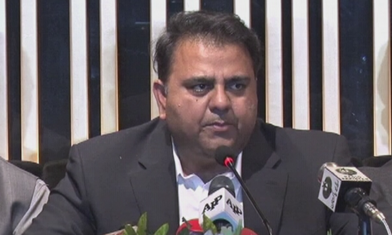 Federal Information Minister Fawad Chaudhry speaks to the media on Sunday.— DawnNewsTV