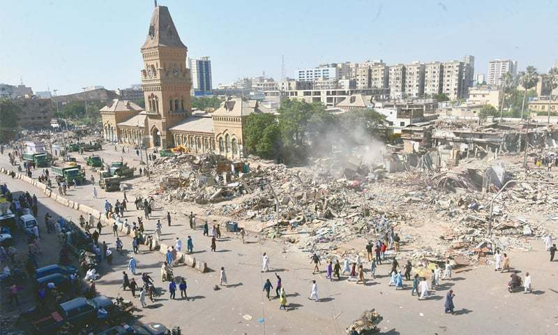 THE Empress Market in Saddar after shops and other illegal structures around it were demolished on Sunday morning.—Faysal Mujeeb / White Star