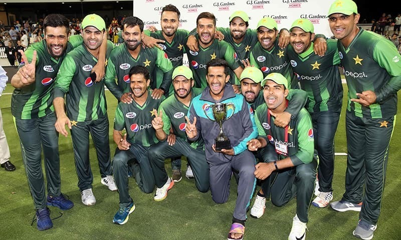 Pakistani players celebrate after winning a T20 series against New Zealand in January. — AFP/File photo