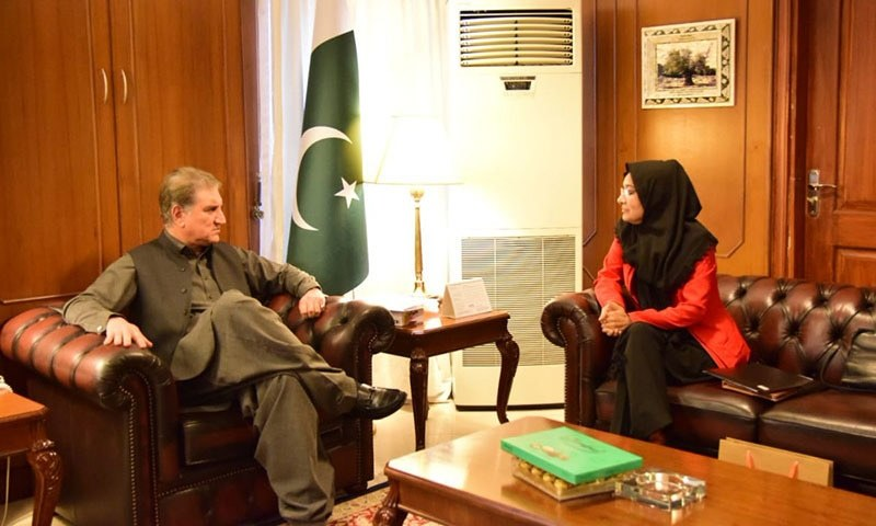 FM Qureshi on Tuesday met with Dr Aafia Siddiqui's sister in Islamabad during which he informed her about the governments efforts regarding her sisters case, Radio Pakistan reported. — Photo courtesy of Shah Mehmood Qureshi Twitter