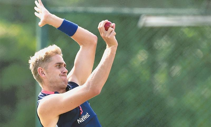England pacer Olly Stone bowls during a training session. — AFP