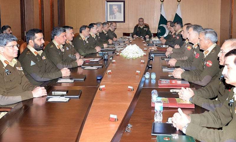 This file photo depicts a Corps Commanders' Conference chaired by Army Chief Gen Qamar Bajwa.