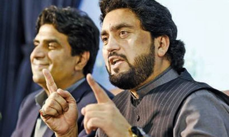 Minister of State for Interior Shehryar Afridi speaks at the press conference on Tuesday. — White Star