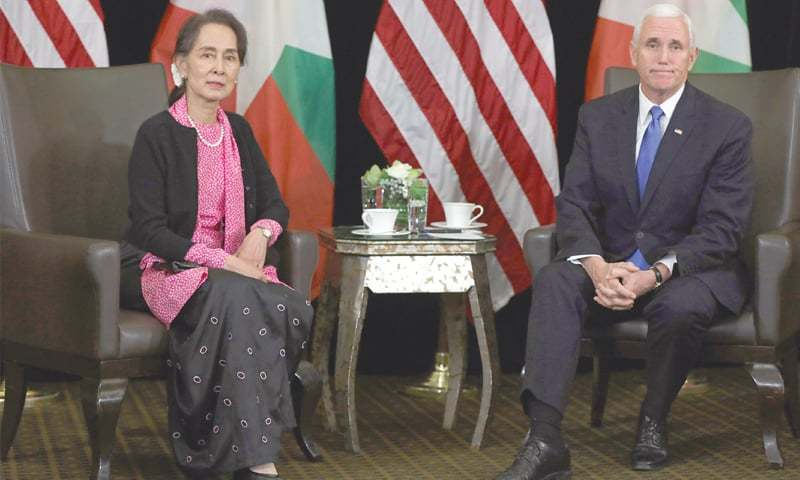 SINGAPORE: Aung San Suu Kyi and US Vice President Mike Pence hold a meeting on Wednesday.—Reuters