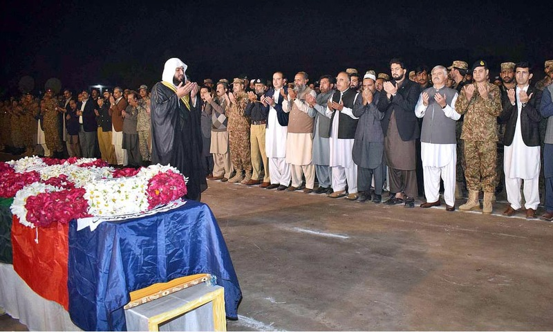 KP Governor Shah Farman, CM Mehmood Khan, Corps Commander Lt Gen Shaheen Mazhar, State Minister for Interior Shehryar Afridi along with others offer Dua after funeral prayer of martyred SP Tahir Dawar. —AP