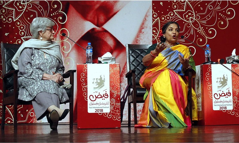 Famous Indian actress Shabana Azmi attending the first session of 4th Faiz International Festival 2018. —APP