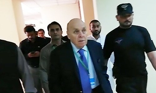 Anwar Majeed being taken into custody by the FIA outside the SC. — File
