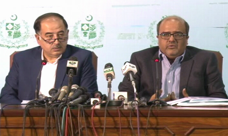 Special Assistant to PM on Accountability Shahzad Akbar (right) and Adviser to PM Iftikhar Durrani hold a press conference on Saturday. —DawnNewsTV
